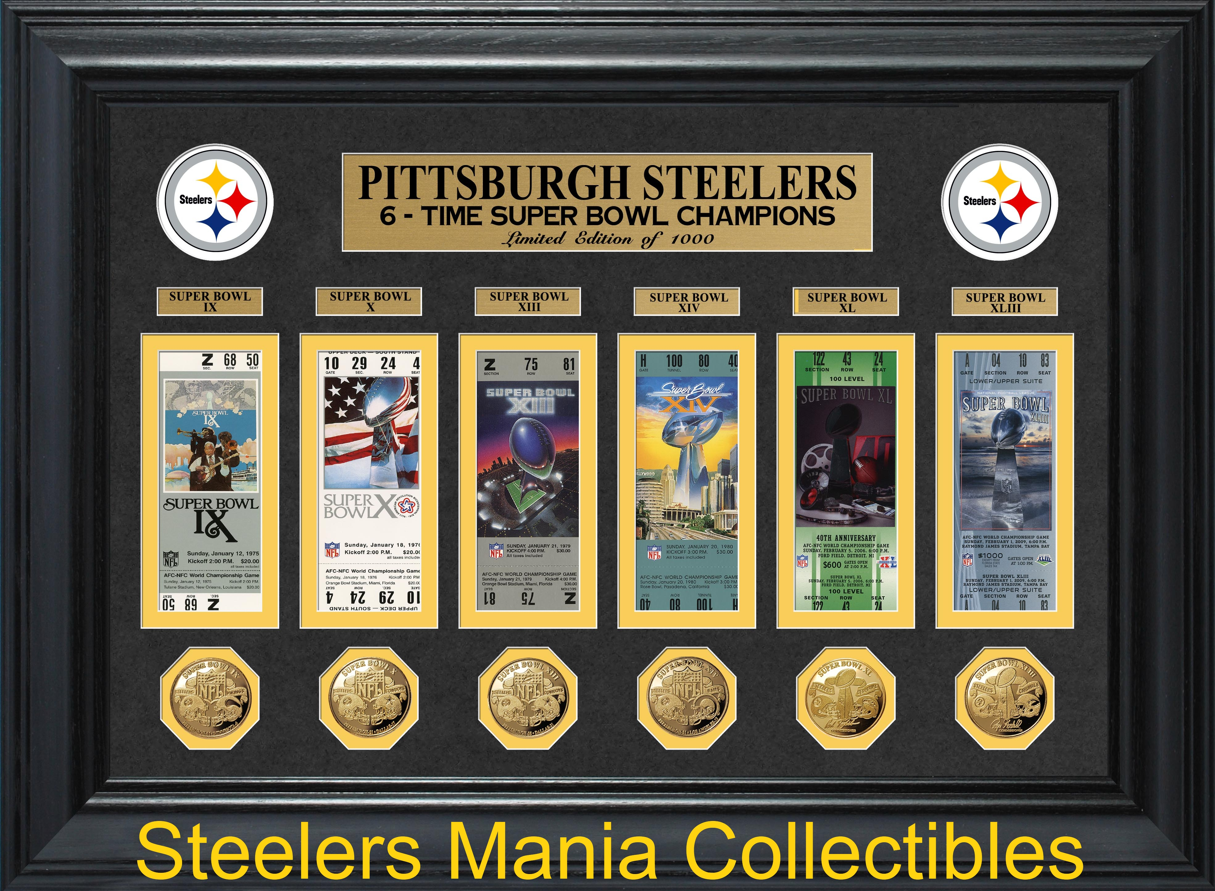 pittsburgh steelers superbowl tickets and gold collection